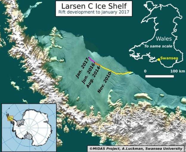 แผ่นน้ำแข็งใหญ่ติดอันดับ 1 ใน 10 ของโลก ใกล้จะแตกออกจากขั้วโลกใต้แล้ว